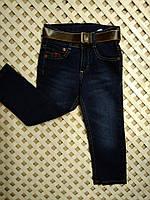 """Детские темно-синие джинсы """"Armani"""" для мальчика с коричневым поясом 2-10лет"""