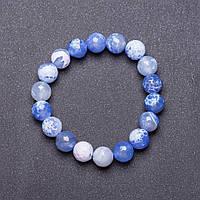 Браслет натуральный камень на резинке Голубой Агат граненный шарик d-10мм обхват 18см