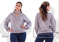 Женский мягкий блестящий свитер с оригинальной шнуровкой на вороте норма и батал