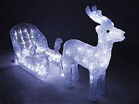 Новогодние игрушки, кристалический олень с санками