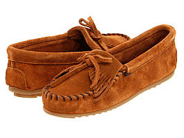 Туфли без каблука (Оригинал) Minnetonka Kilty Suede Moc Brown Suede