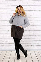 Кашемировое двухцветное пальто   t0692-1