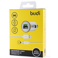 АЗУ Budi MicroUSB + 2 USB 5V 2.1A, белый