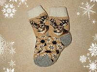Детские новогодние носки с оленями 14-15 см, теплые шерстяные носочки