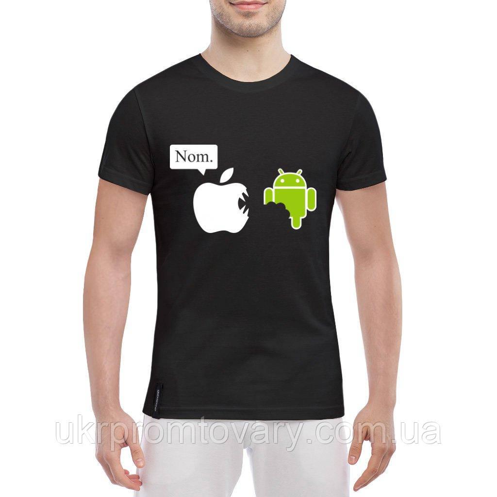 Мужская футболка - Nom. Apple vs Android, отличный подарок купить со скидкой, недорого