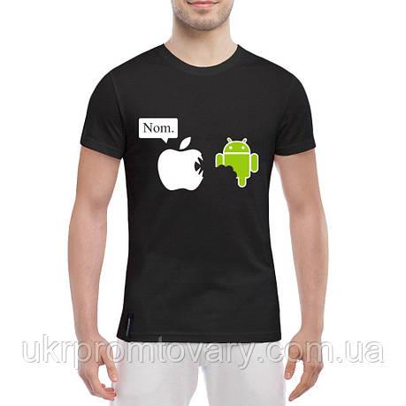 Мужская футболка - Nom. Apple vs Android, отличный подарок купить со скидкой, недорого, фото 2