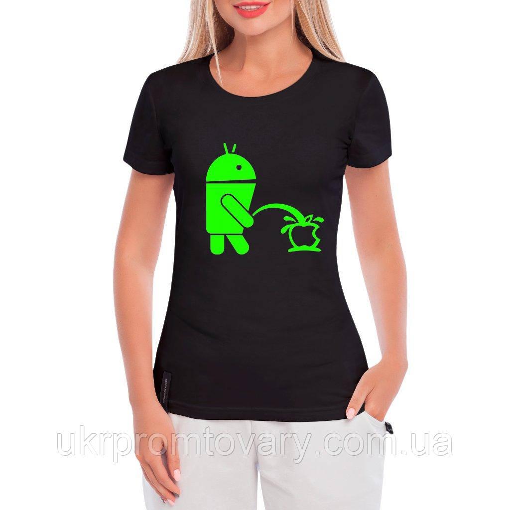 Женская футболка - Anrdoid vs apple, отличный подарок купить со скидкой, недорого