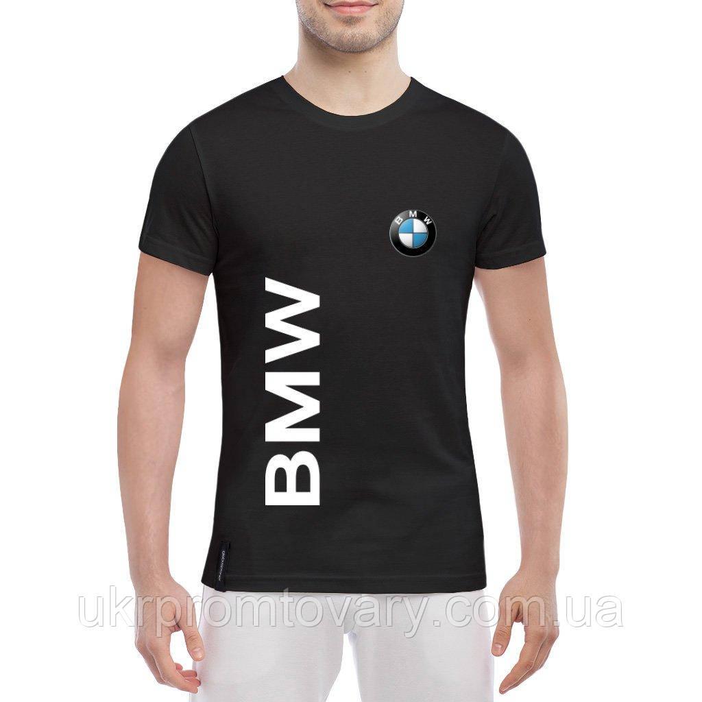 Мужская футболка - BMW надпись и лого, отличный подарок купить со скидкой, недорого