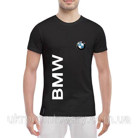 Мужская футболка - BMW надпись и лого, отличный подарок купить со скидкой, недорого, фото 2