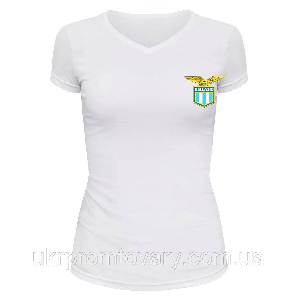 Футболка женская V-вырезом - S.S. Lazio, отличный подарок купить со скидкой, недорого