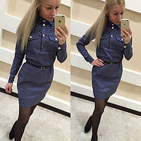 Женское джинсовое платье в горошек с ремешком С