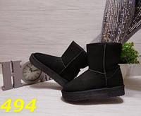Сапоги женские УГГИ замшевые на платформе черные