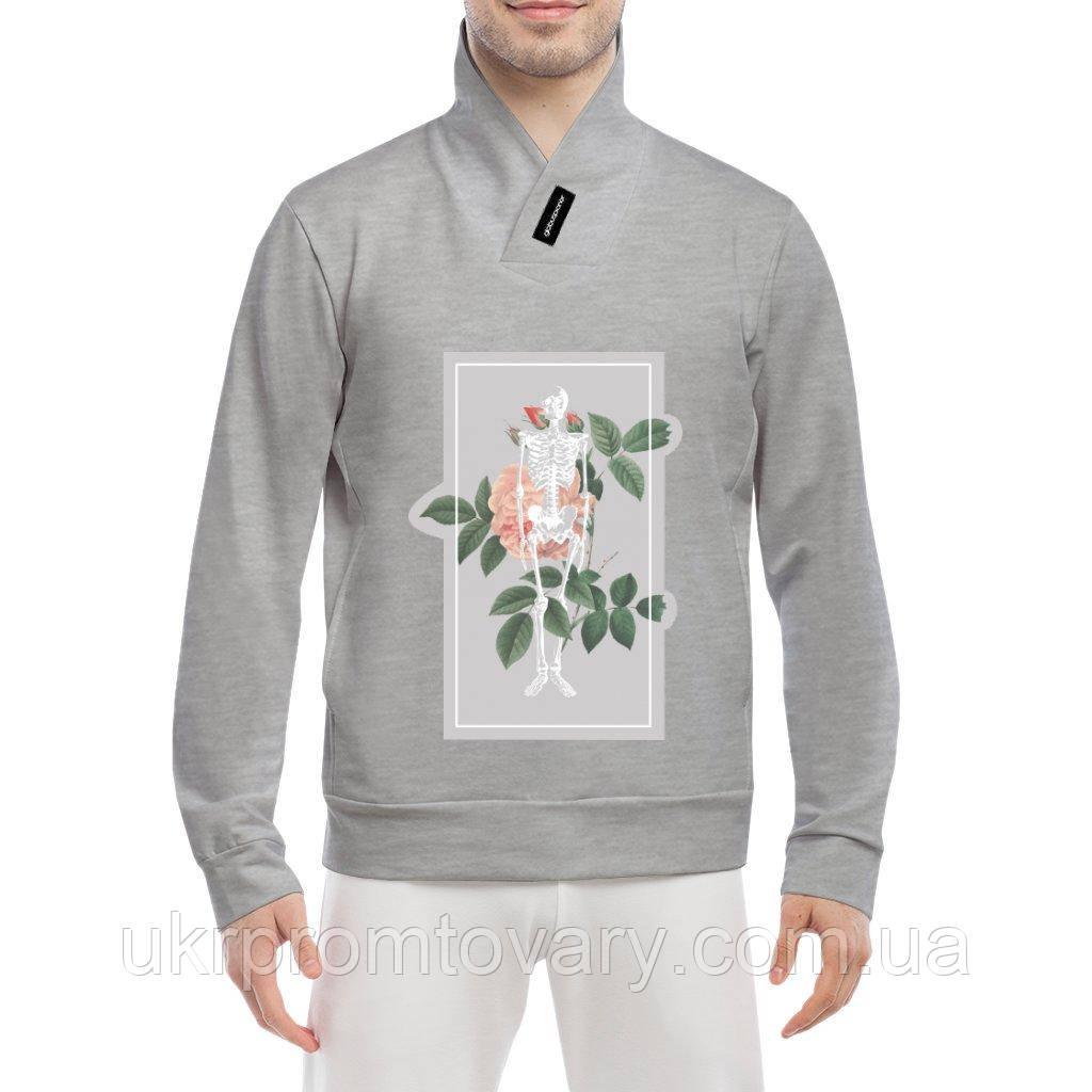 Толстовка - Роза и скелет, отличный подарок купить со скидкой, недорого