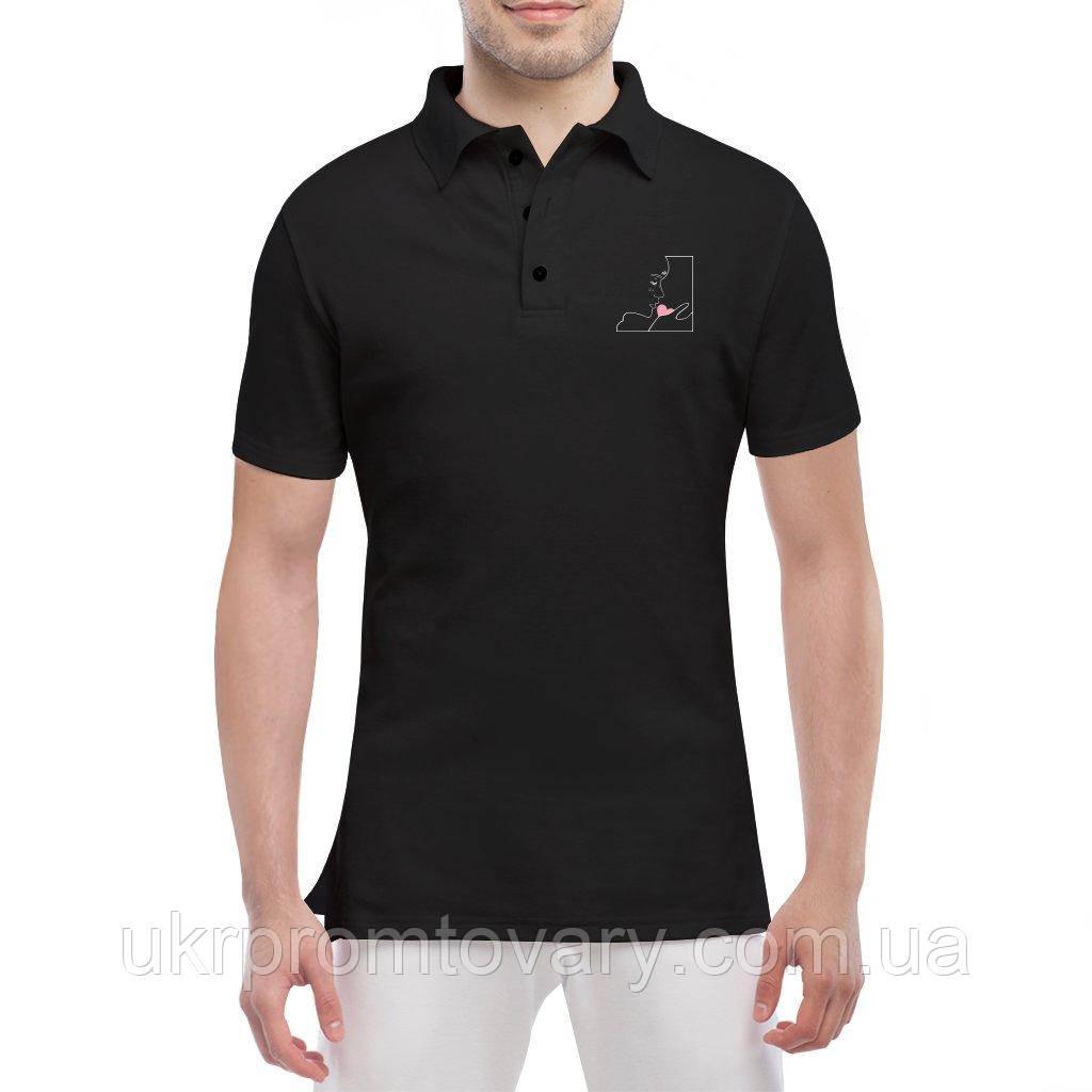 Мужская футболка Поло - Парень с сердцем, отличный подарок купить со скидкой, недорого