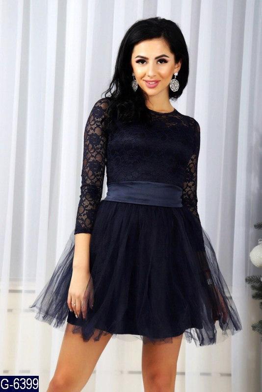 63d7eb5426077ac Нарядное женское платье гипюровое платье с юбкой клеш из фатина черного  цвета. Арт - 18972