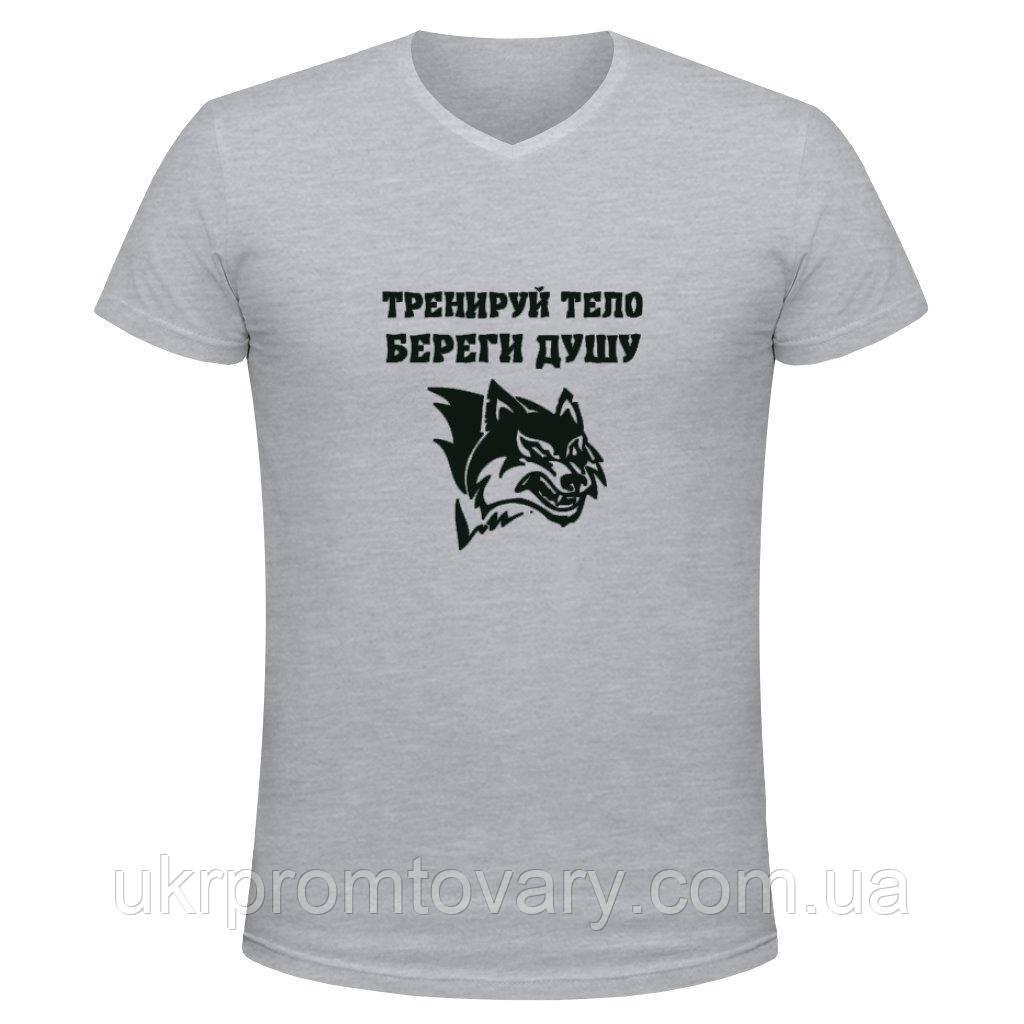 Футболка мужская V-вырезом - Тренируй тело береги душу, отличный подарок купить со скидкой, недорого