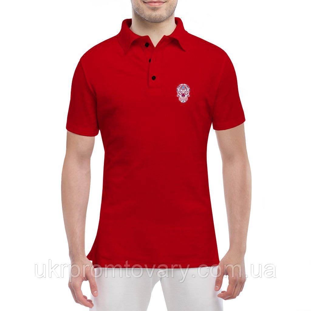 Мужская футболка Поло - Bayern мексиканский череп, отличный подарок купить со скидкой, недорого