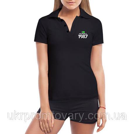 Женская футболка Поло - На Земле с 1987, отличный подарок купить со скидкой, недорого, фото 2