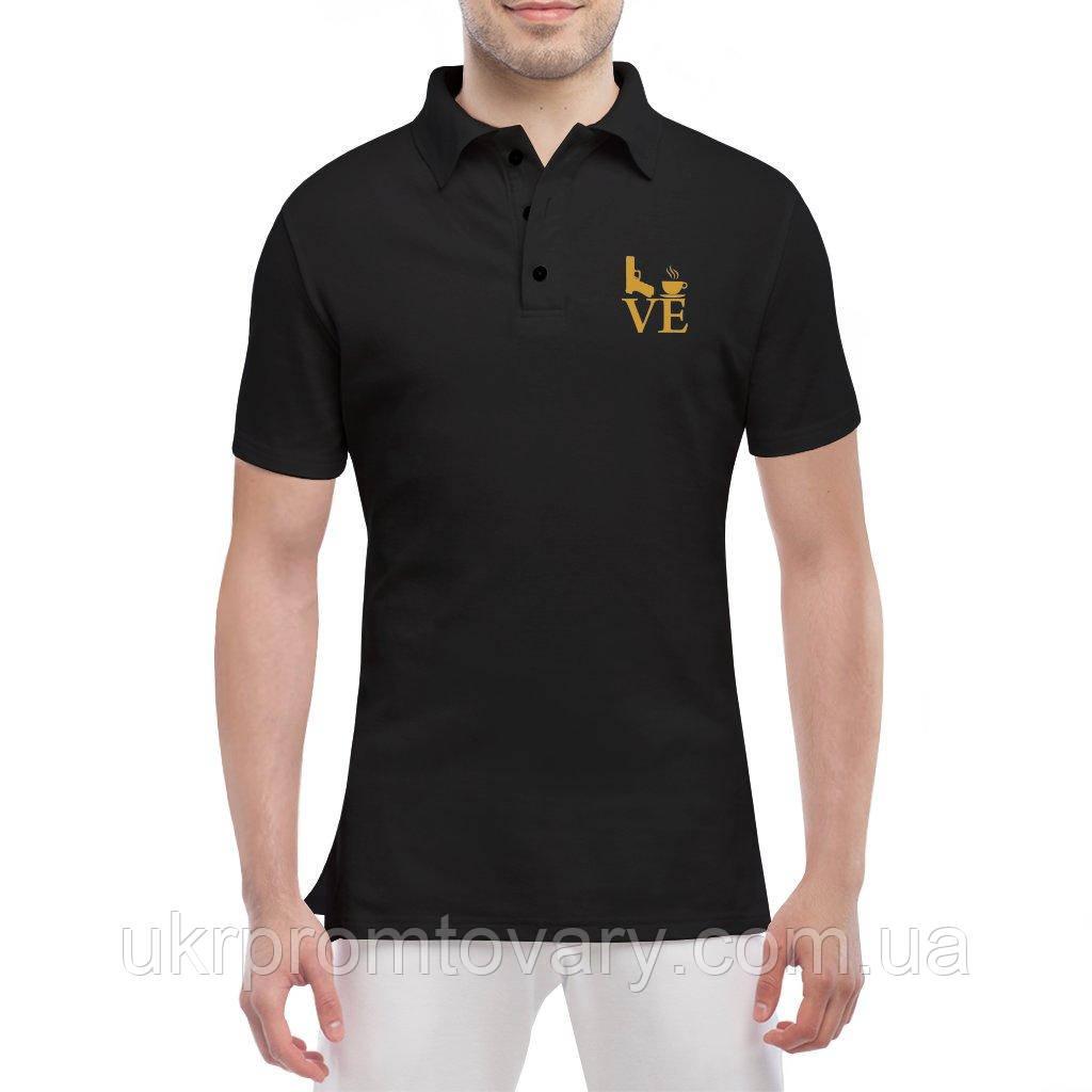 Мужская футболка Поло - Love, отличный подарок купить со скидкой, недорого
