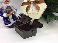 Шикарный ремень Paul Smith в подарочной упаковке цвет коричневый 1704