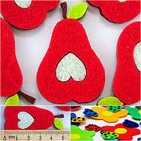 (5шт) Заготовка из фетра  Груша красная Размер 5 х 4 см.