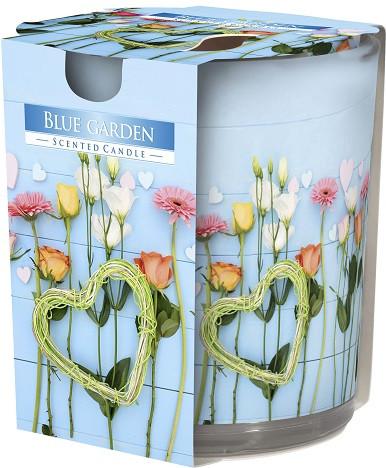 Свеча ароматизированная в стекле Bispol Голубой сад 7,8 см (sn72s-08)