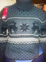 Мужской свитер синий с оленями №080