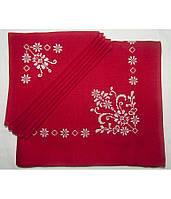 Вышитая красная скатерть и салфетки 6 шт. (белая вышивка)