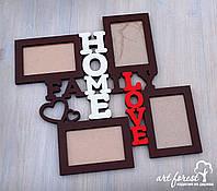 """Фоторамка из дерева """"Family Love Home"""""""