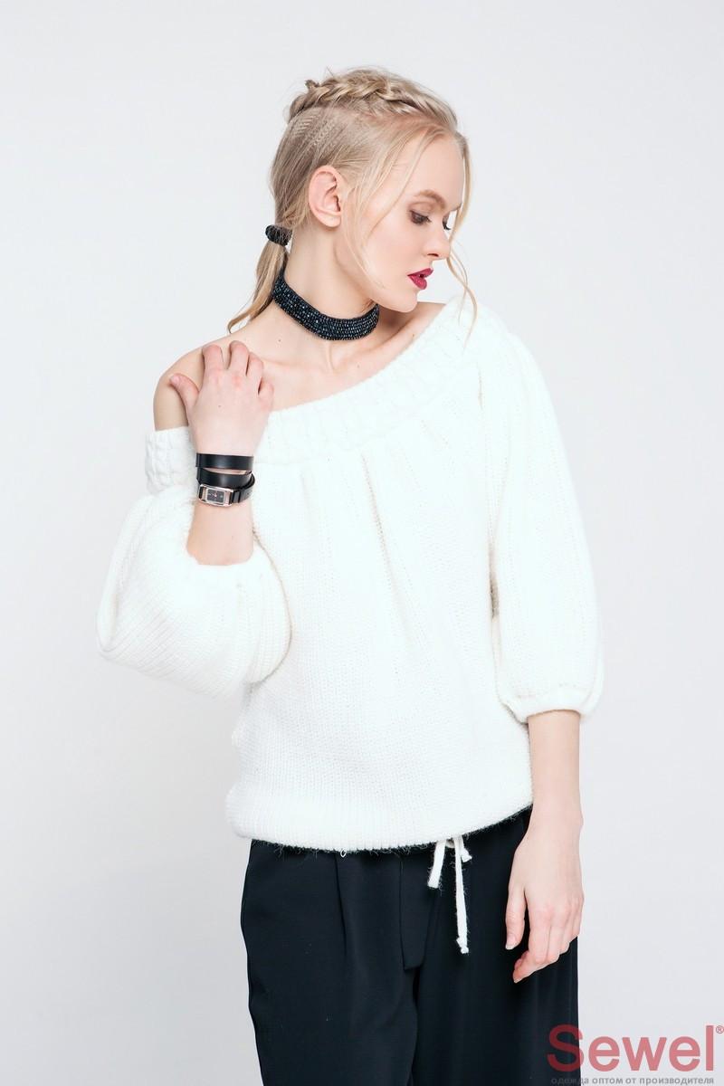 Женский модный свитер со спущенным плечом