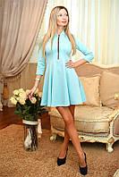 Великолепное платье Francheska с изисканими рукавами три четверти и застежкой модной молнией (длина 80 см) (6 цветов) (134)8006