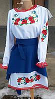Вышитое женское платье с маками