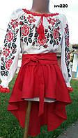 Вышитое женское платье крестиком с розами