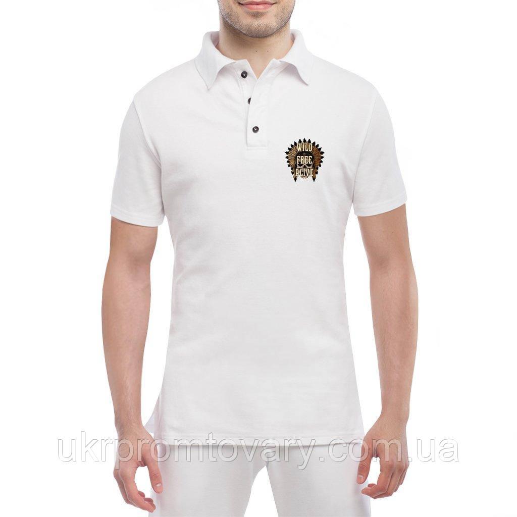 Мужская футболка Поло - череп вождя крик дикий, отличный подарок купить со скидкой, недорого