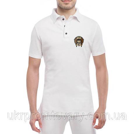Мужская футболка Поло - череп вождя крик дикий, отличный подарок купить со скидкой, недорого, фото 2