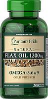 Puritan's Pride Льняное Масло Flax Oil 1200 mg Omega 3-6-9100 softgels