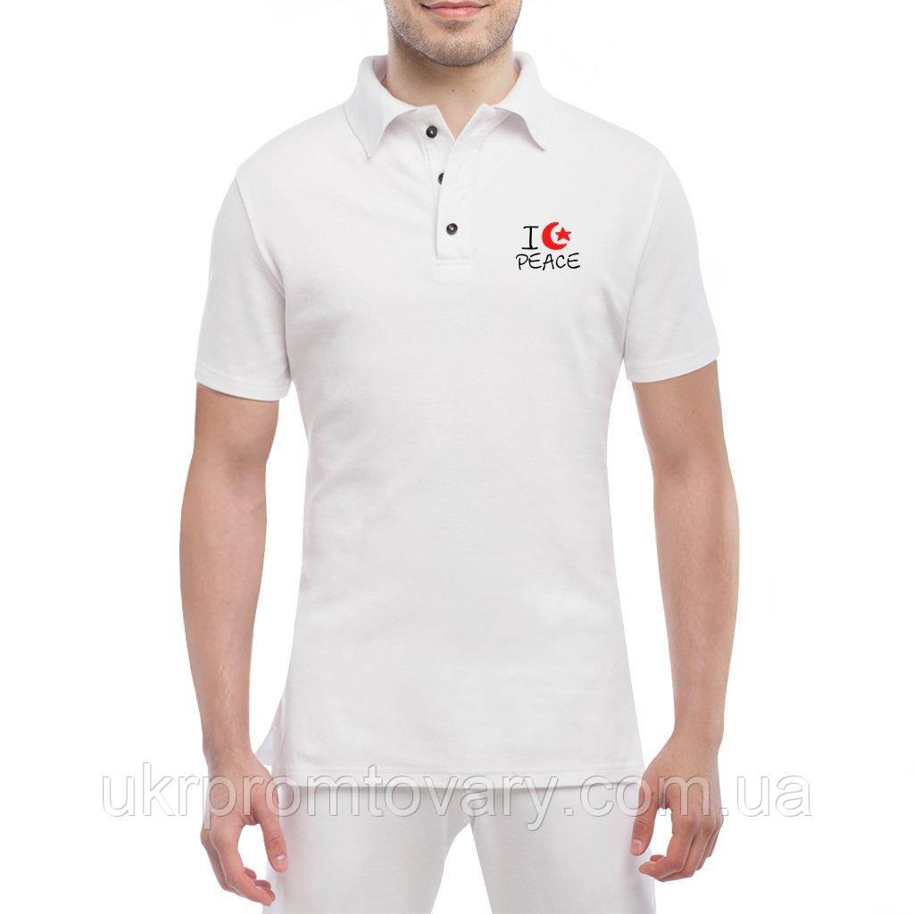 Мужская футболка Поло - I love Peace, отличный подарок купить со скидкой, недорого