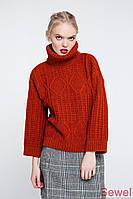Женский зимний вязаный свитер под горло