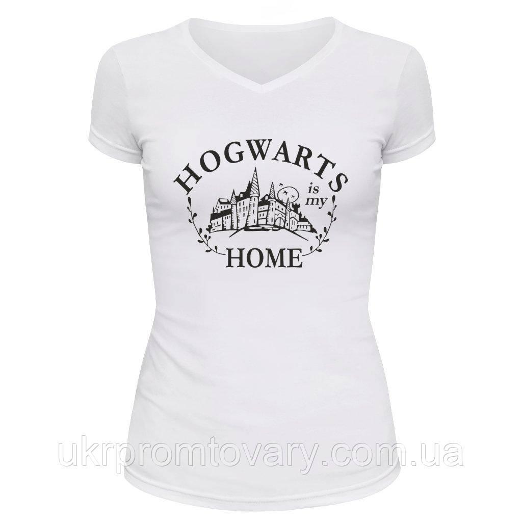 Футболка женская V-вырезом - Hogwarts is my home, отличный подарок купить со скидкой, недорого