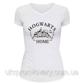 Футболка женская V-вырезом - Hogwarts is my home, отличный подарок купить со скидкой, недорого, фото 2
