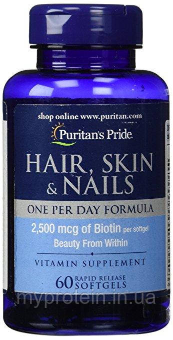 Puritan's Pride здоровье волос,ногтей Hair, Skin & Nails One Per Day Formula 60 softgels