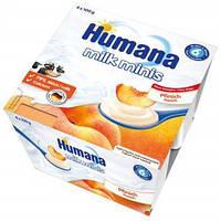 Humana продукт кисломол. з персиком і з нат. пребіотиками з 6 міс. 4*100г