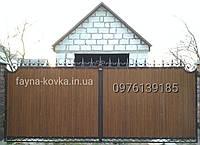 Ворота кованые закрытые профнастилом 6080