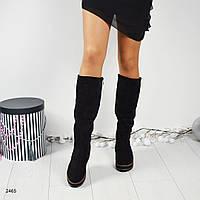 Сапоги женские декорированные шнуровкой с кисточками, цвет- черный.