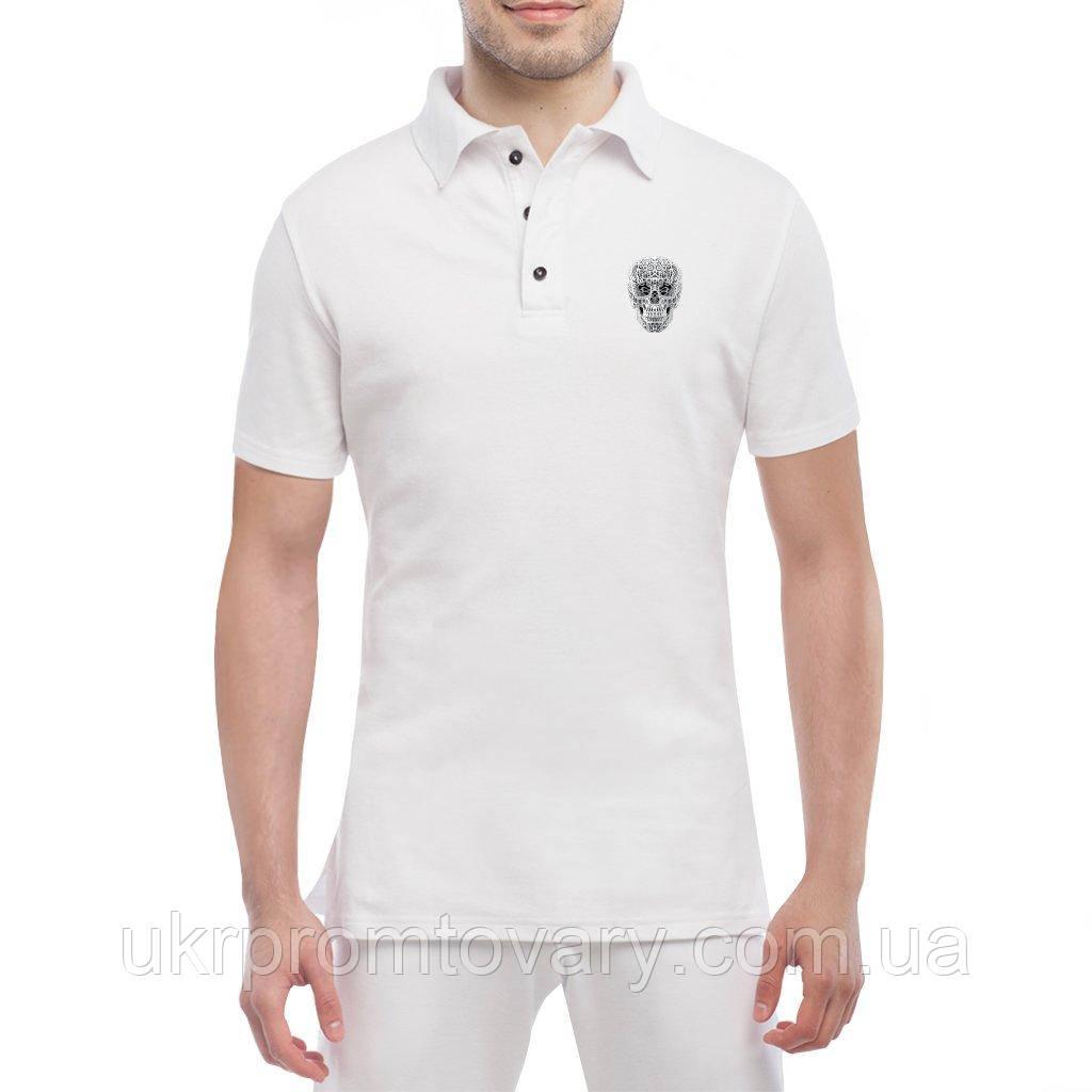 Мужская футболка Поло - Череп узор, отличный подарок купить со скидкой, недорого