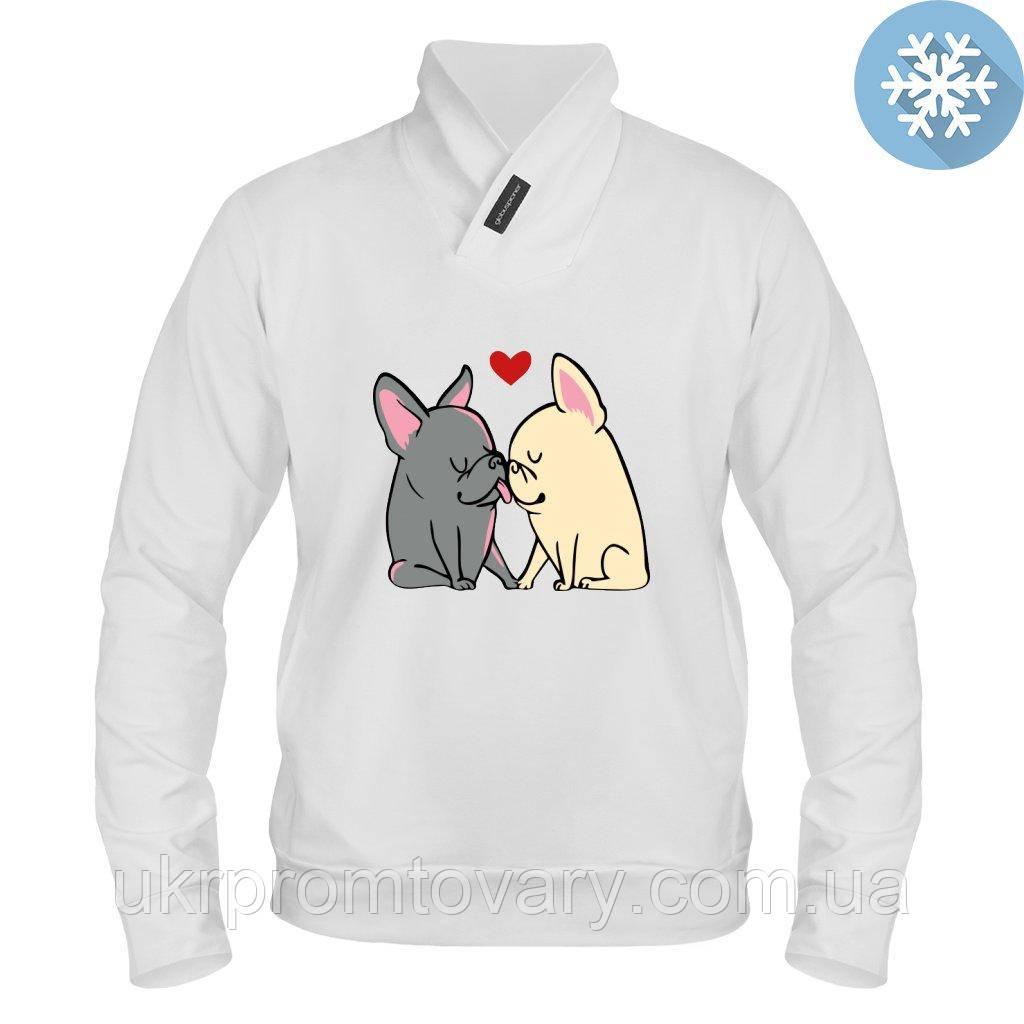 Толстовка утепленная - Целующиеся собачки, отличный подарок купить со скидкой, недорого