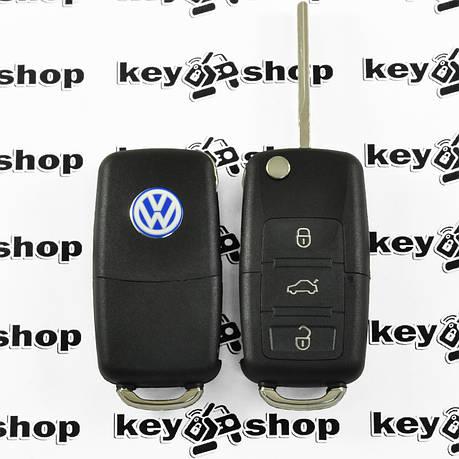 Корпус выкидного авто ключа для VOLKSWAGEN Passat, Caddy, Jetta, Golf (Фольксваген Пассат, Кадди) 3 - кнопки, фото 2