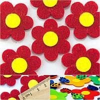 (10шт) Заготовка из фетра  Цветочек Красный Размер 3,5 х 3,5 см.
