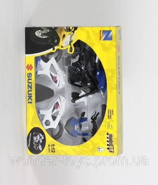 """Мотоцик New Ray, """"SUZUKI"""", метал., сборная модель, масштаб 1:12, - Удивительные Игрушки, Интернет магазин в Днепре"""