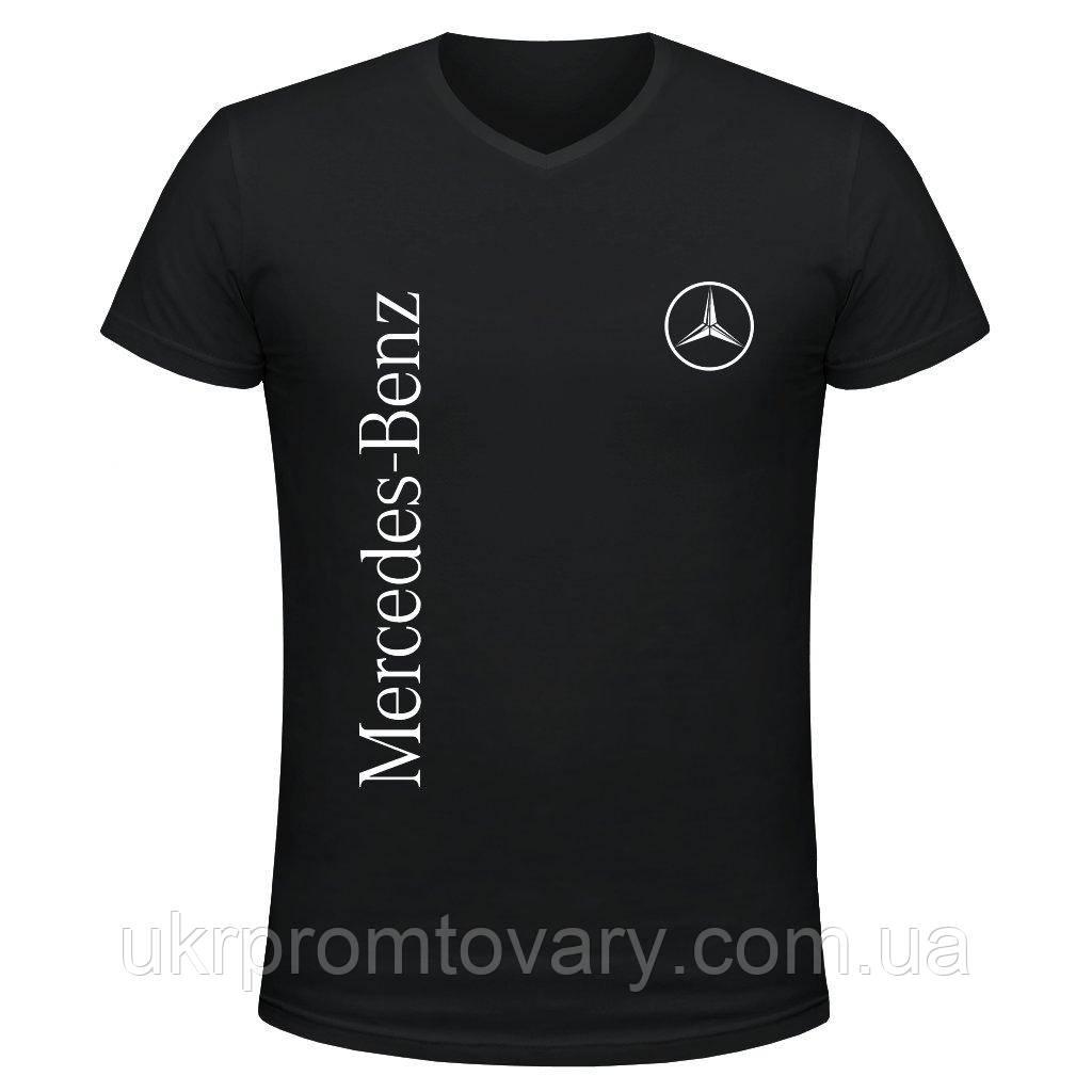 Футболка мужская V-вырезом - Mercedes-Benz logo, отличный подарок купить со скидкой, недорого